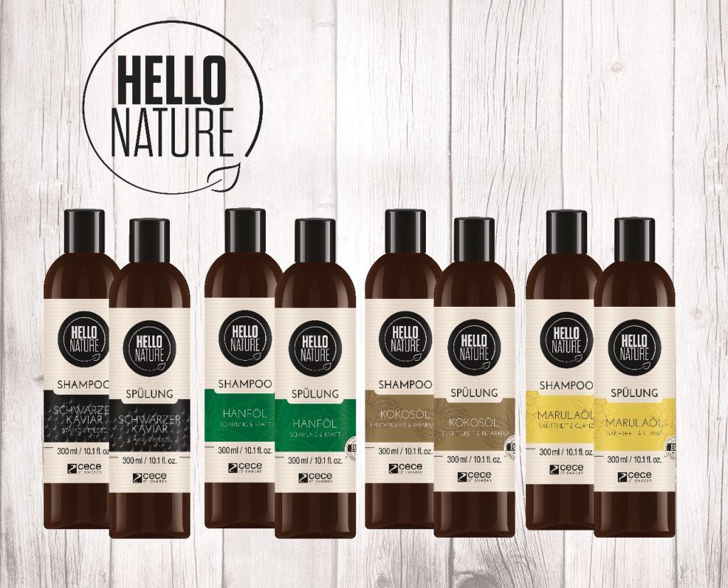 Hello Nature_Produktlinie Shampoo und Spülung